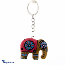 Wooden Painted Elephant Key Tag - Pink at Kapruka Online
