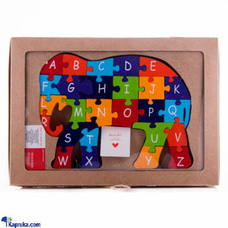 Colorful Children`s Elephant Wooden Puzzle A-Z Educational Toy at Kapruka Online