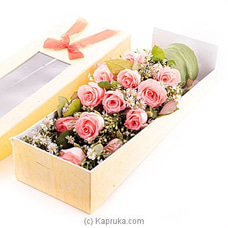 Dozen Pink Roses Box at Kapruka Online