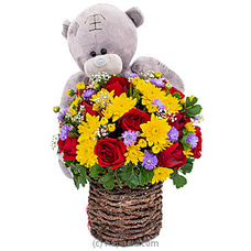 Sneak A Peek- Mix Of Red Roses, Chrysanthemums And A Teddy By Flower Republic at Kapruka Online for flowers