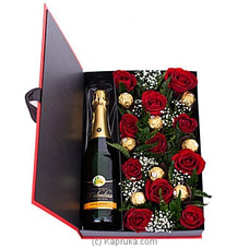Romance In Advance- Mix Of Red Roses, Ferero Rochers, Non-Alcoholic Wine Bottle By Flower Republic at Kapruka Online for flowers
