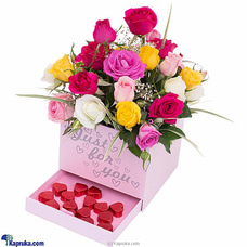 Spark Of Roses- Mix Of Pink Roses, Yellow Roses, White Roses And Java Chocolatesat Kapruka Online for flowers