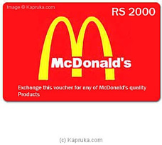 McDonalds Rs 2000 Voucher By MCDONALDS at Kapruka Online forspecialGifts