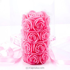 Rose Flower Scented Pink Cylinder Candle at Kapruka Online
