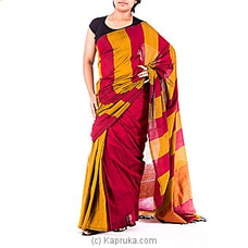 Mustard with Maroon Handloom Saree By Kamba at Kapruka Online for specialGifts