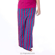 Magenta handloom lungi with blue stripes - XL By Kamba at Kapruka Online for specialGifts