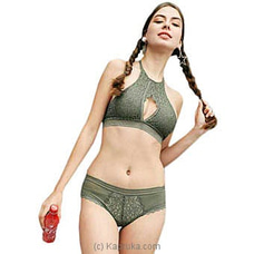 French High Neck Sexy Bra And Panty Set-kaki Green at Kapruka Online