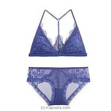 Bandage Lace Bra And Brief Set-blue LINGERIE at Kapruka Online