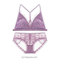 Bandage Lace Bra And Brief Set-purple LINGERIE at Kapruka Online