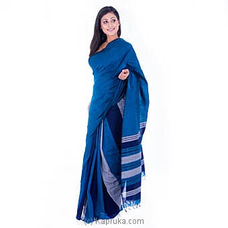 Handloom Saree With Blue And Gray Stripes at Kapruka Online