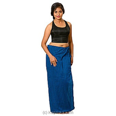 Peacock Blue And Black Strips Lungi With Blouse Materiel By Kamba at Kapruka Online for specialGifts