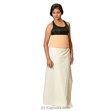 Linen Off White Lungi With Yellow Color Stripe Blouse Materiel By Kamba at Kapruka Online for specialGifts