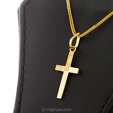 22 KT Y/G Cross Studded With Swarovski Zirconia-CR000039 By SWARNA MAHAL at Kapruka Online for specialGifts