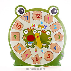 Kids Learning Wooden Puzzle Clock - Frog EDUCATIONAL,CHILDRENSTOY at Kapruka Online
