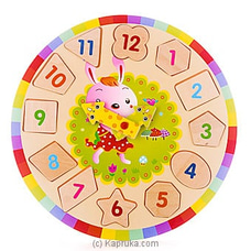 Kids Learning Wooden Puzzle Clock - Rabbit EDUCATIONAL,CHILDRENSTOY at Kapruka Online