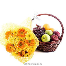 Supreme Fruit Basket With Yellow Flowers at Kapruka Online