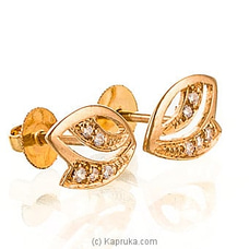 Swarnamahal C/Z 22kt Yellow Gold Studded Ear Stud  With Swarovski Zirconia - ES0000914 at Kapruka Online