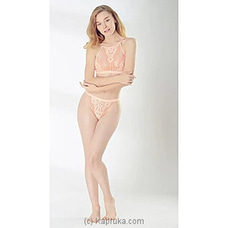 French High Neck Sexy Bra And Panty Set- Peach-Medium at Kapruka Online