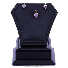 Vogue Diamond And Amethyst Stone 18K Gold Pendant And Ear Stud Set By Vogue at Kapruka Online for specialGifts