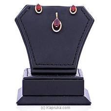 Vogue Diamond And Red Garnets  Stone 18K Gold Pendant And Ear Stud Set By Vogue at Kapruka Online for specialGifts