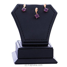 Vogue 18k Gold Red Garnet Pendant With Ear Stud Set VALENTINE at Kapruka Online