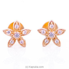 18kt Red Gold Ear Stud Set With Cubic Zirconia (E1081-1) By Mallika Hemachandra Jewellers at Kapruka Online for specialGifts