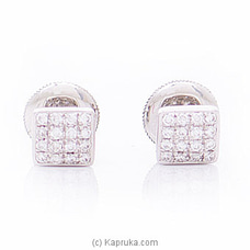 18k White Gold Earrings With VVS DIAMOND (ALE 2012 5X5) By Alankara at Kapruka Online forspecialGifts