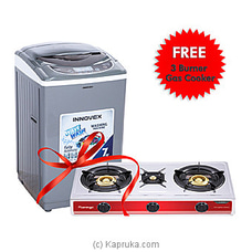 Innovex IFA70S Steel Drum Fully Automatic Washing Machine With 5 Years Warranty + Free 3 Buner Gas Cooker By Innovex at Kapruka Online for specialGifts