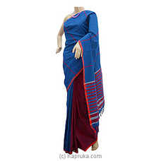 Blue And Red Mix Glossy Cotton Saree at Kapruka Online