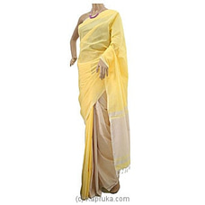 Yellow Cotton Handloom Saree By Cotton Weavers at Kapruka Online for specialGifts