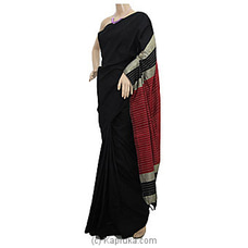 Black And Maroon Mix Cotton Handloom Saree By Cotton Weavers at Kapruka Online for specialGifts