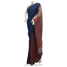 Dark Blue Shades With Red Stripes Handloom Saree By Cotton Weavers at Kapruka Online for specialGifts
