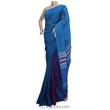 Blue Shades Dark Purple Stripes Cotton Handloom Saree By Cotton Weavers at Kapruka Online for specialGifts
