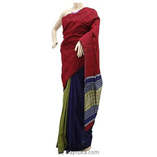 Red Shades Blue And Green Striped Cotton Handloom Saree By Cotton Weavers at Kapruka Online for specialGifts