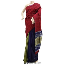 Red Shades Blue And Green Striped Cotton Handloom Saree at Kapruka Online