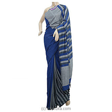 Blue And Gray Mix Cotton Handloom Saree By Cotton Weavers at Kapruka Online for specialGifts