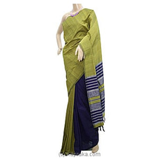 Green Shades Blue Strips Cotton Handloom Saree-C1322 By Cotton Weavers at Kapruka Online for specialGifts