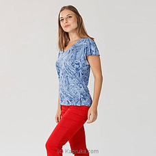 Breezy Blue-Flare Sleeve Knit T-shirt By Miika at Kapruka Online for specialGifts