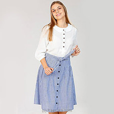 Lake Blue - Self Tie Linen Skirt By NA at Kapruka Online for specialGifts