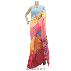 Pink And Orange Mix Cotton Handloom Saree By Cotton Weavers at Kapruka Online for specialGifts