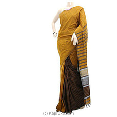 Mustard Yellow Cotton Handloom Saree C1324 By Cotton Weavers at Kapruka Online for specialGifts