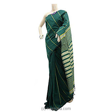 Dark Green Cotton Handloom Saree C1323 By Cotton Weavers at Kapruka Online for specialGifts