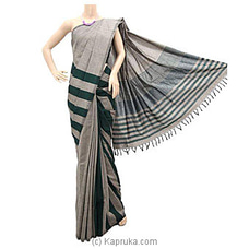 Gray Cotton Handloom Saree By Cotton Weavers at Kapruka Online for specialGifts