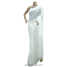 White Cotton Handloom Saree By Cotton Weavers at Kapruka Online for specialGifts