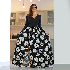 Black And White- Trendy Maxi With Flared Floral Skirt at Kapruka Online