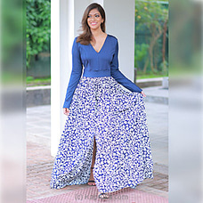 Navy Blue And White-Trendy Maxi With Flared Floral Skirt By Trend Republic at Kapruka Online for specialGifts