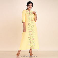 Lemon Color EMB Linen Long Dress-rf 271 at Kapruka Online