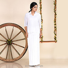 White Linen Lungi Kit With Ladder Lace-LK 1065 By INNOVATION REVAMPED at Kapruka Online for specialGifts