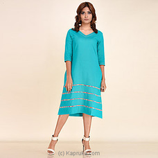Turquoise Linen Short Dress-rf - 274 at Kapruka Online