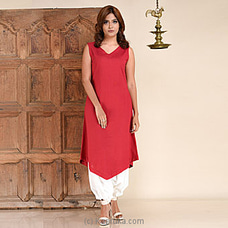 Rose Red Linen Bottom V Sleeveless Dress-RF 282 By INNOVATION REVAMPED at Kapruka Online for specialGifts